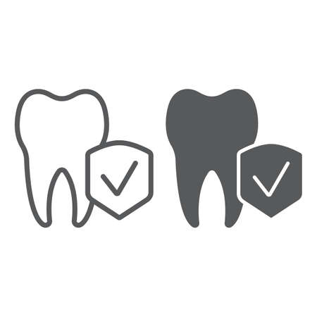 Dental insurance line and glyph icon, medical and health, dental care sign, vector graphics, a linear pattern on a white background.
