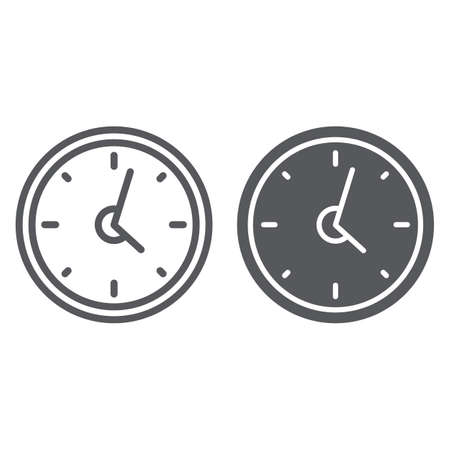 Clock line and glyph icon, hour and time, wall watch sign, vector graphics, a linear pattern on a white background.