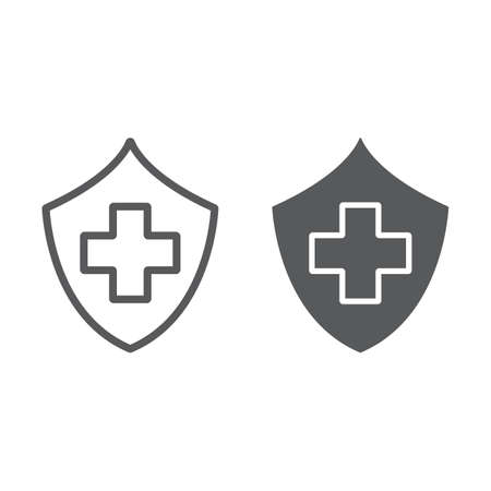 Health insurance line and glyph icon, safety and care, healthcare sign, vector graphics, a linear pattern on a white background.