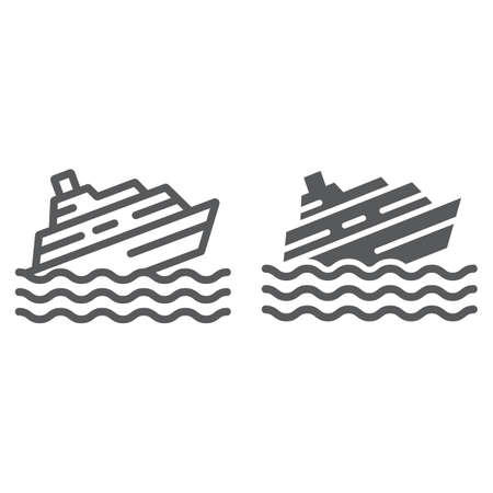 Sinking ship line and glyph icon, disaster and water, boat catastrophe sign, vector graphics, a linear pattern on a white background. Иллюстрация