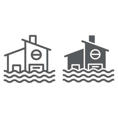 Flood line and glyph icon, disaster and home, flooded house sign, vector graphics, a linear pattern on a white background.