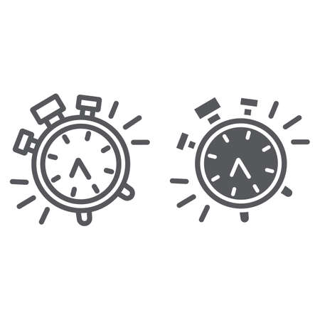 Alarm clock line and glyph icon, time and clock, watch sign, vector graphics, a linear pattern on a white background.