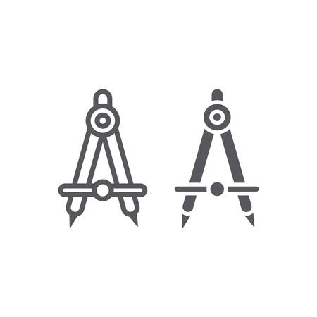 School compass line and glyph icon, architect and drafting, engineering equipment sign, vector graphics, a linear pattern on a white background.
