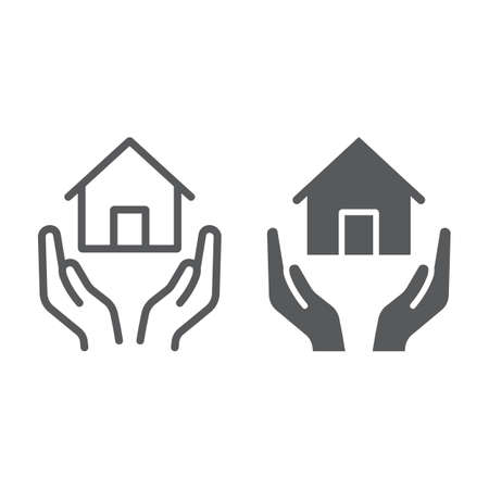 Home insurance line and glyph icon, estate and property, house care sign, vector graphics, a linear pattern on a white background.