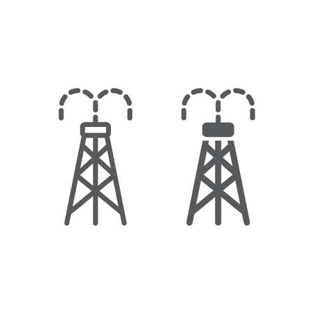 Oil derrick line and glyph icon, tower and industry, oil rig sign, vector graphics, a linear pattern on a white background.