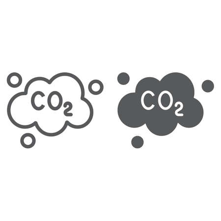 Pollution co2 line and glyph icon, ecology and dioxide, co2 emissions cloud sign, vector graphics, a linear pattern on a white background.