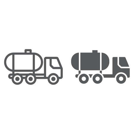 Oil tank line and glyph icon, fuel and car, oil transportation sign, vector graphics, a linear pattern on a white background. Illustration