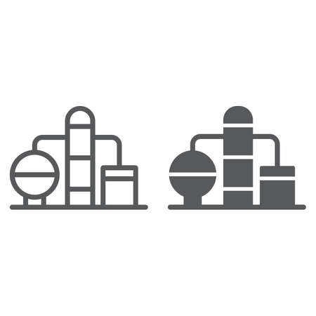 Refinery line and glyph icon, fuel and plant, oil factory sign, vector graphics, a linear pattern on a white background.
