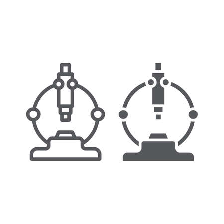 Microscope line and glyph icon, scientific and equipment, laboratory magnify sign, vector graphics, a linear pattern on a white background. Иллюстрация
