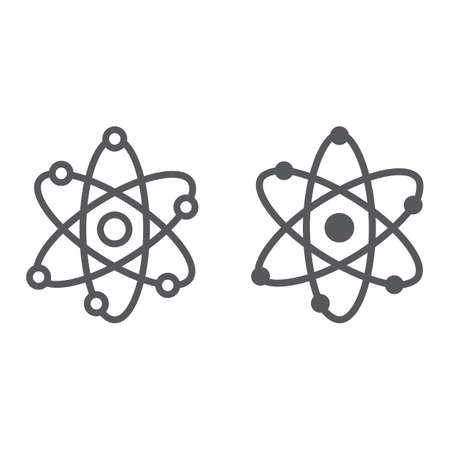 Atom structure line and glyph icon, scientific and nuclear, nucleus sign, vector graphics, a linear pattern on a white background.