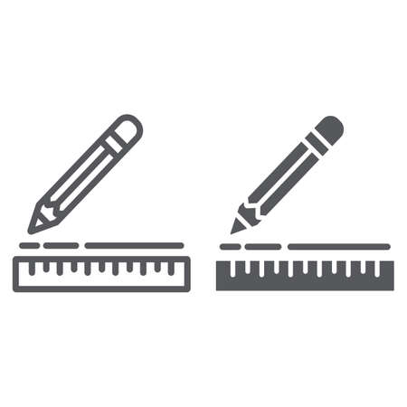 Ruler and pencil line and glyph icon, instrument and school, drawing equipment sign, vector graphics, a linear pattern on a white background.