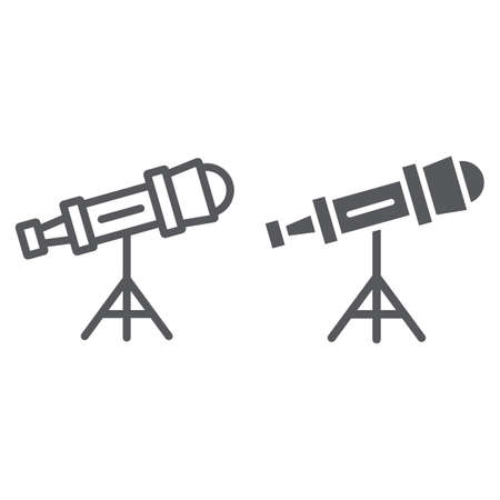 Telescope line and glyph icon, science and astronomy, spyglass sign, vector graphics, a linear pattern on a white background.