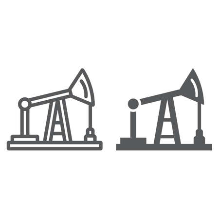 Oil pump line and glyph icon, production and industry, oil derrick sign, vector graphics, a linear pattern on a white background.