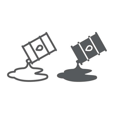 Icono de glifo y línea de derrame de petróleo, combustible y almacenamiento, signo de barril de petróleo, gráficos vectoriales, un patrón lineal sobre un fondo blanco. Ilustración de vector