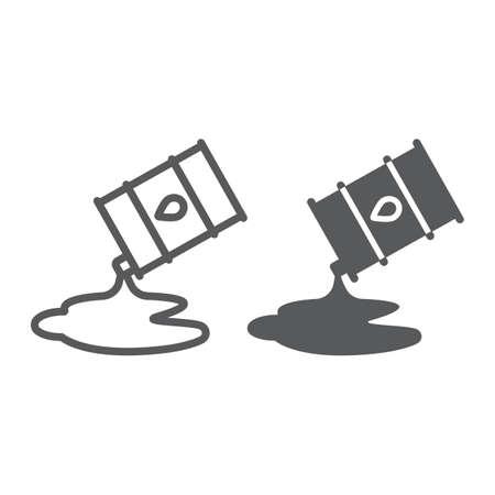Ligne de déversement de pétrole et icône de glyphe, carburant et stockage, signe de baril de pétrole, graphiques vectoriels, un dessin linéaire sur fond blanc. Vecteurs