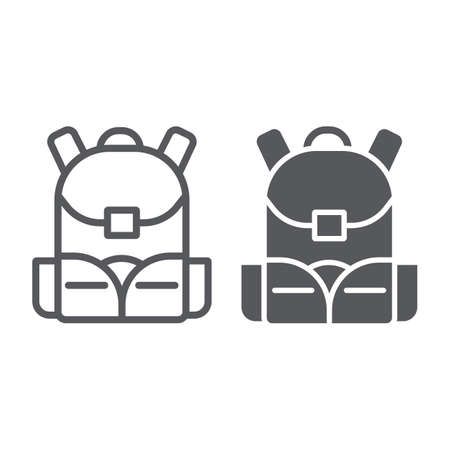 Schoolbag line and glyph icon, rucksack and bag, backpack sign, vector graphics, a linear pattern on a white background.