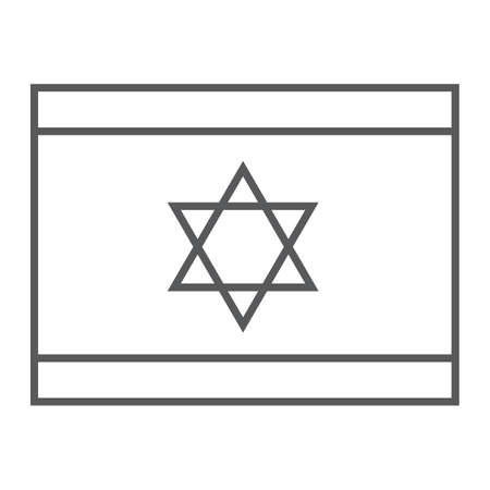 Israel flag thin line icon, national and country, israeli flag sign, vector graphics, a linear pattern on a white background. Иллюстрация
