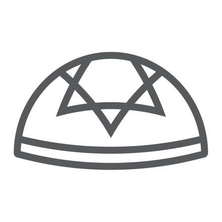 Kippah line icon, national and hat, hebrew bale sign, vector graphics, a linear pattern on a white background.