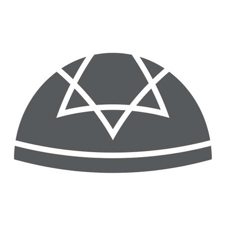 Kippah glyph icon, national and hat, hebrew bale sign, vector graphics, a solid pattern on a white background. Иллюстрация