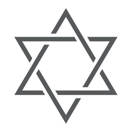 Star of David line icon, israel and jewish, hexagram sign, vector graphics, a linear pattern on a white background. Иллюстрация