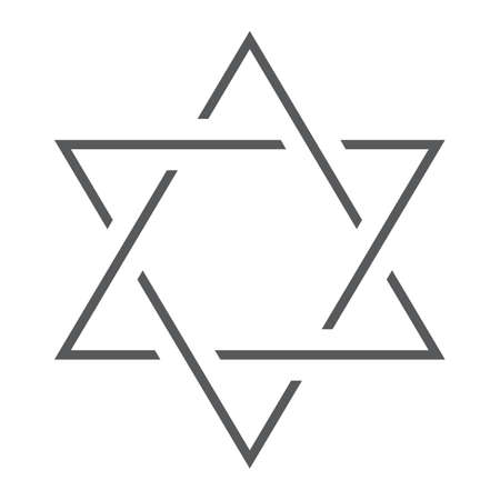 Star of David thin line icon, israel and jewish, hexagram sign, vector graphics, a linear pattern on a white background. Иллюстрация
