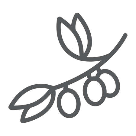 Olive branch line icon, plant and tree, olives sign, vector graphics, a linear pattern on a white background.