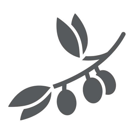 Olive branch glyph icon, plant and tree, olives sign, vector graphics, a solid pattern on a white background.