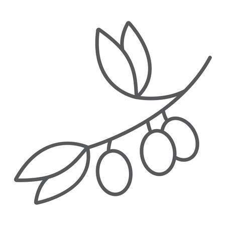 Olive branch thin line icon, plant and tree, olives sign, vector graphics, a linear pattern on a white background.