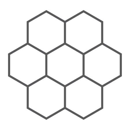 Honeycomb thin line icon, food and honey, hexagon sign, vector graphics, a linear pattern on a white background.
