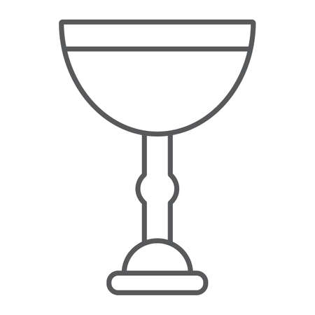 Jewish goblet thin line icon, cup and judaism, kiddush wine cup sign, vector graphics, a linear pattern on a white background.