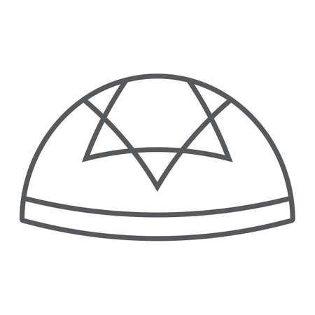 Kippah thin line icon, national and hat, hebrew bale sign, vector graphics, a linear pattern on a white background.