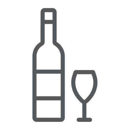 Hebrew wine line icon, jewish and drink, bottle and glass sign, vector graphics, a linear pattern on a white background.