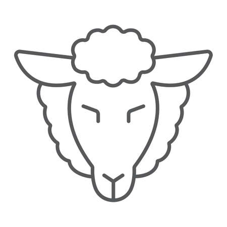Lamb of god thin line icon, jewish and animal, sheep sign, vector graphics, a linear pattern on a white background.