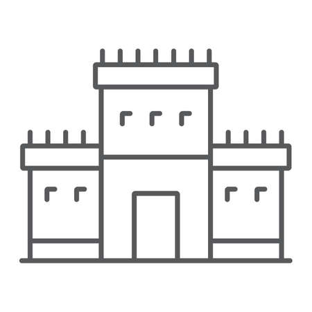 Solomon temple in jerusalem thin line icon, religion and hebrew, jewish tabernacle sign, vector graphics, a linear pattern on a white background.
