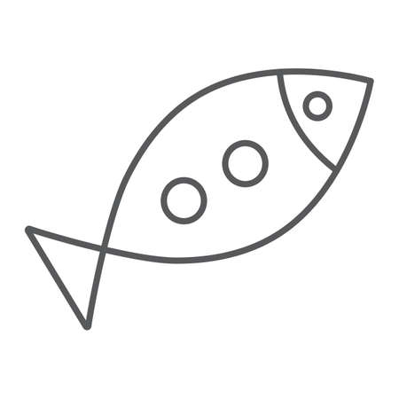 Inclined fish thin line icon, religion and animal, aquatic food sign, vector graphics, a linear pattern on a white background.