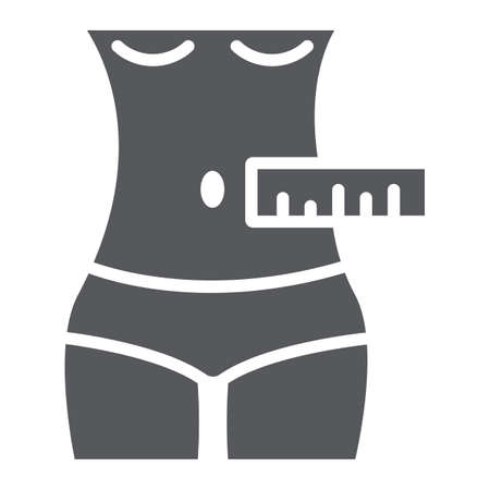 Waist measurement glyph icon, tailor and measure, female body measuring sign, vector graphics, a solid pattern on a white background.