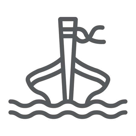 Long tail boat line icon, sheep and sea, tai boat sign, vector graphics, a linear pattern on a white background.