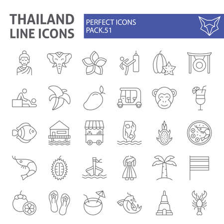 Thailand thin line icon set, thai symbols collection, vector sketches, logo illustrations, asia signs linear pictograms package isolated on white background. Illustration