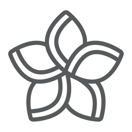 Plumeria line icon, floral and flower, frangipani sign, vector graphics, a linear pattern on a white background.