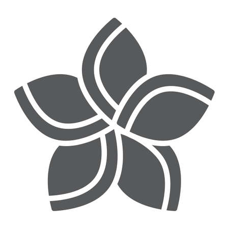Plumeria glyph icon, floral and flower, frangipani sign, vector graphics, a solid pattern on a white background.