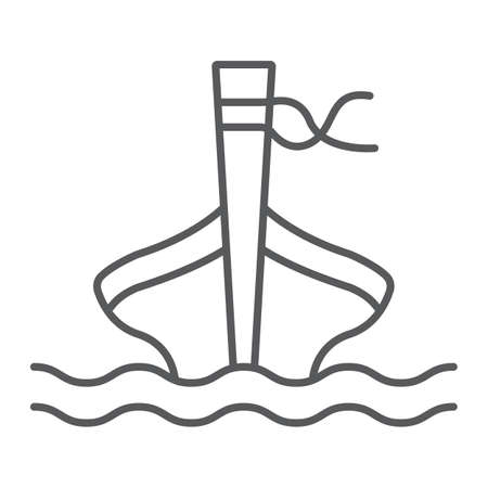 Long tail boat thin line icon, sheep and sea, tai boat sign, vector graphics, a linear pattern on a white background.
