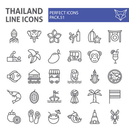 Thailand line icon set, thai symbols collection, vector sketches, illustrations, asia signs linear pictograms package isolated on white background. Illustration