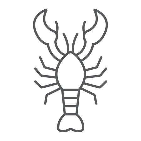 Lobster thin line icon, food and sea, cancer sign, vector graphics, a linear pattern on a white background. Illustration