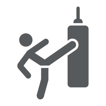 Thai fight glyph icon, training and boxer, boxing sign, vector graphics, a solid pattern on a white background. Иллюстрация