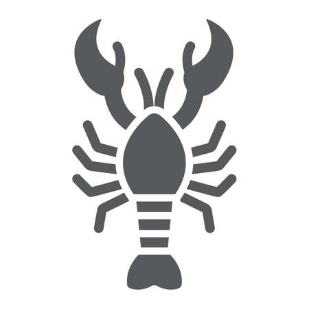 Lobster glyph icon, food and sea, cancer sign, vector graphics, a solid pattern on a white background.