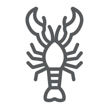 Lobster line icon, food and sea, cancer sign, vector graphics, a linear pattern on a white background.