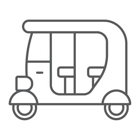 Tuk tuk thin line icon, car and vehicle, rickshaw sign, vector graphics, a linear pattern on a white background.