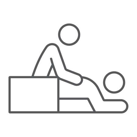 Massage thin line icon, spa and leisure, therapist sign, vector graphics, a linear pattern on a white background.