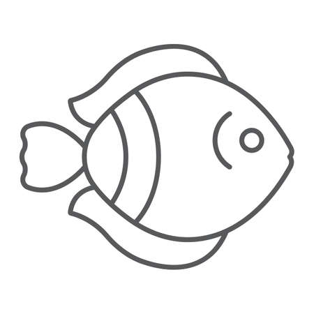 Tropical fish thin line icon, nature and animal, aquatic animal sign, vector graphics, a linear pattern on a white background. Standard-Bild - 128743634
