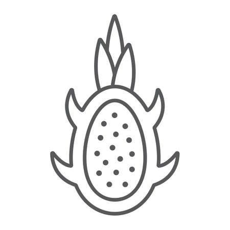 Dragon fruit thin line icon, fruits and tropical, exotic food sign, vector graphics, a linear pattern on a white background.